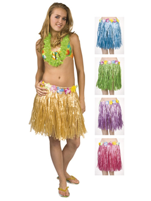 Hawaii Bast Rock (45 cm) mit Blumen Hawaiiparty Beachparty ...