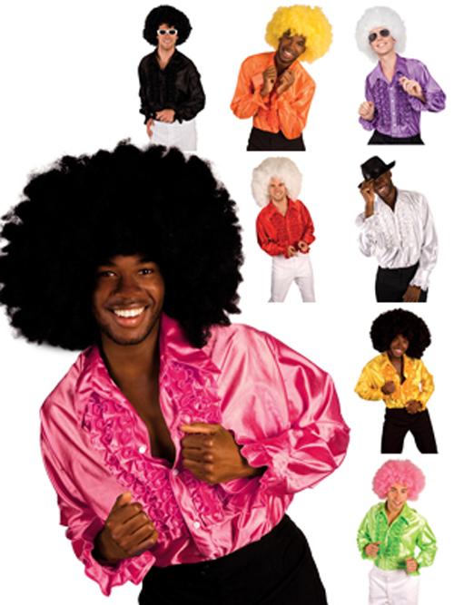 WoW-Auswahl-70s-Rueschenhemd-70er-Jahre-Disco-Hemd-pink-gelb-weiss-rot-gruen-usw