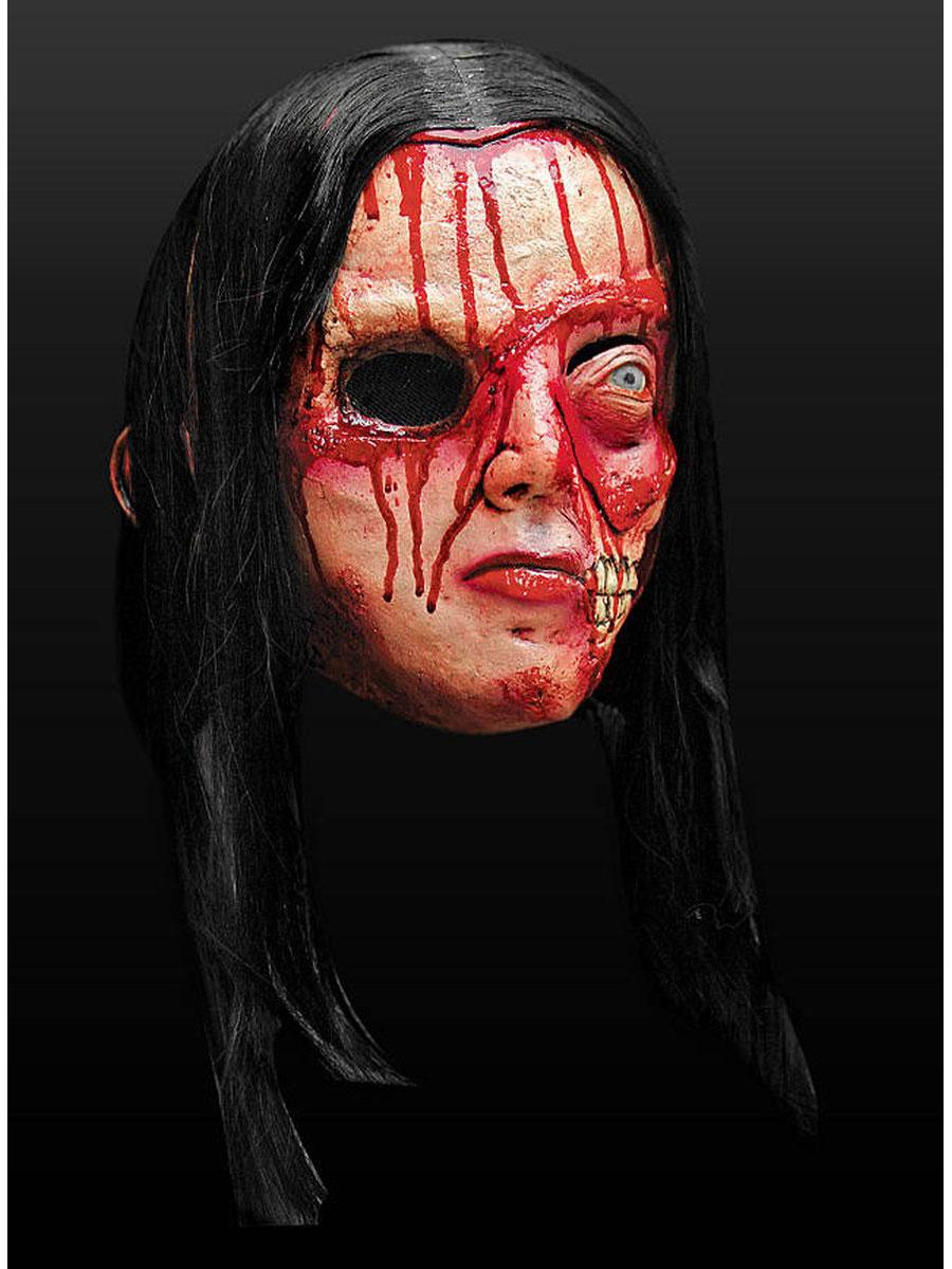 latex kapuzenmaske fratze 4 mit haar halloween maske ebay. Black Bedroom Furniture Sets. Home Design Ideas