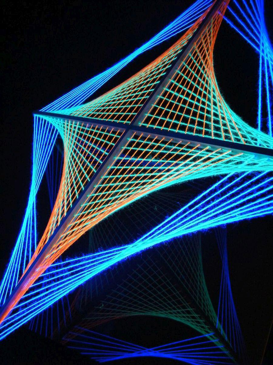 schwarzlicht 2d fadendeko psychedelic spiderweb. Black Bedroom Furniture Sets. Home Design Ideas