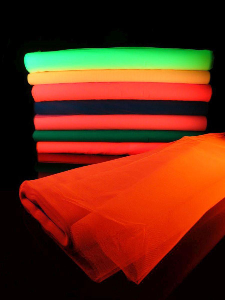 1lfm UV Schwarzlicht Neon Tüll Mandarine