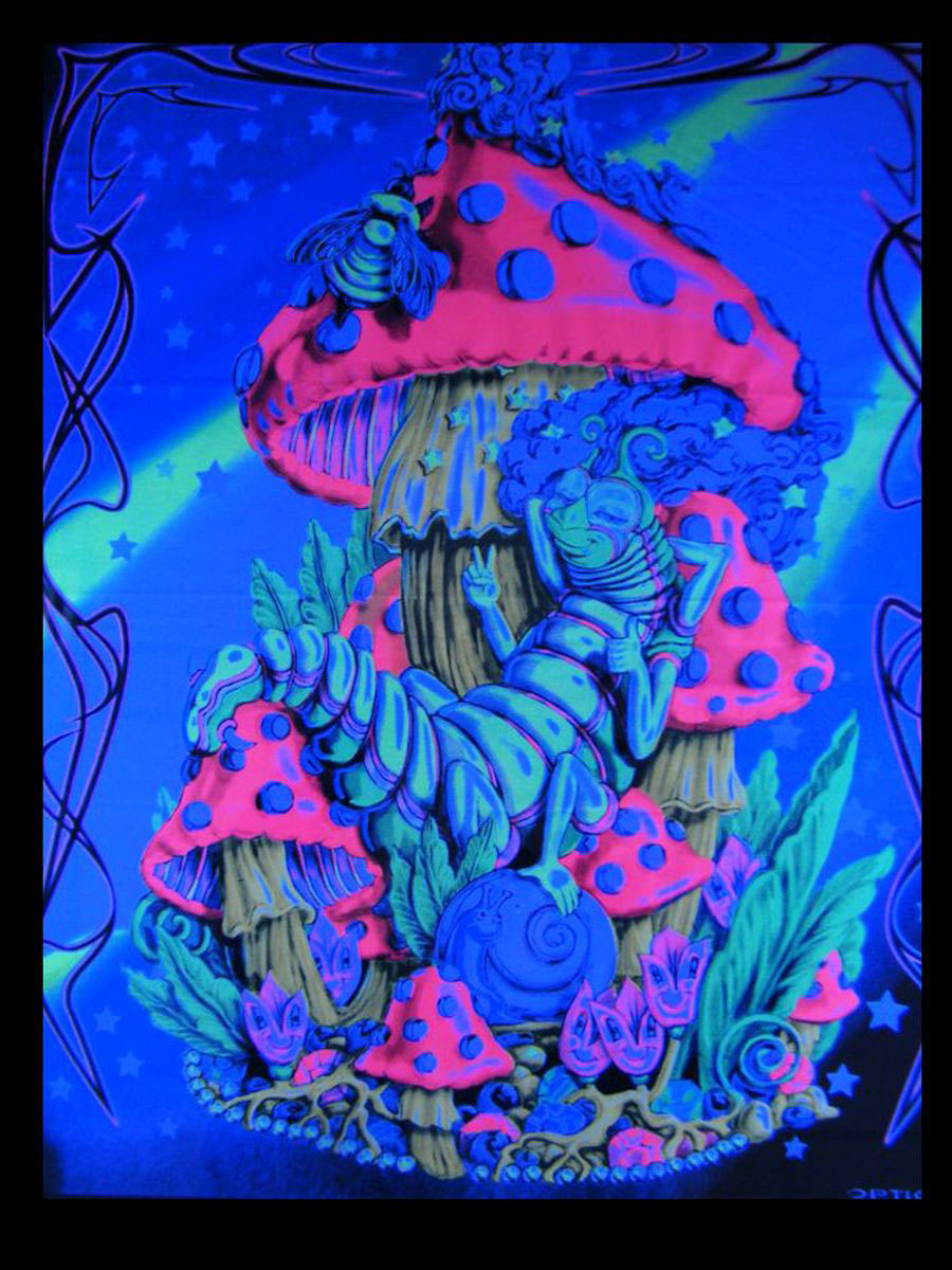 uv schwarzlicht baumwoll tuch poster mushroom 58x70cm goa pilz wandbehang ebay. Black Bedroom Furniture Sets. Home Design Ideas