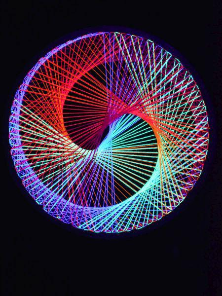 2d stringart spirale neon multivitamin fadendeko psy deko goa party stringart ebay. Black Bedroom Furniture Sets. Home Design Ideas